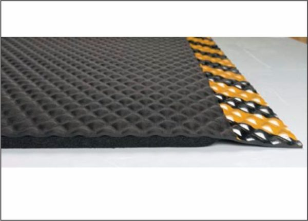 "Close up side view of Hog Heaven anti fatigue matting with Yellow Striped border in a 5/8"" thickness showing beveled edges and foam underside"