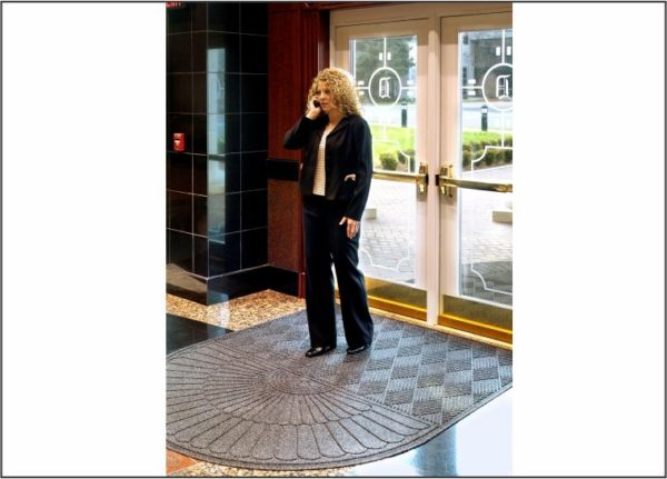Waterhog Eco Grand Premier oval one end used as an indoor floor mat for a condominium