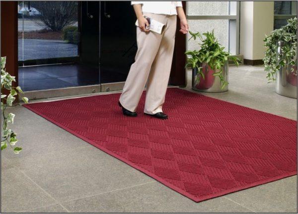 Waterhog Eco Premier Regal Red Floor Mat used as indoor walk off mat