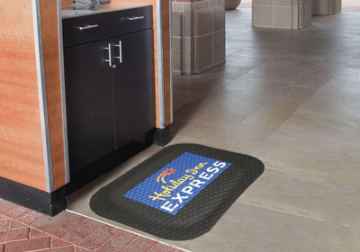 Hog Heaven Impressions logo mat used as an anti fatigue mat in a hotel setting