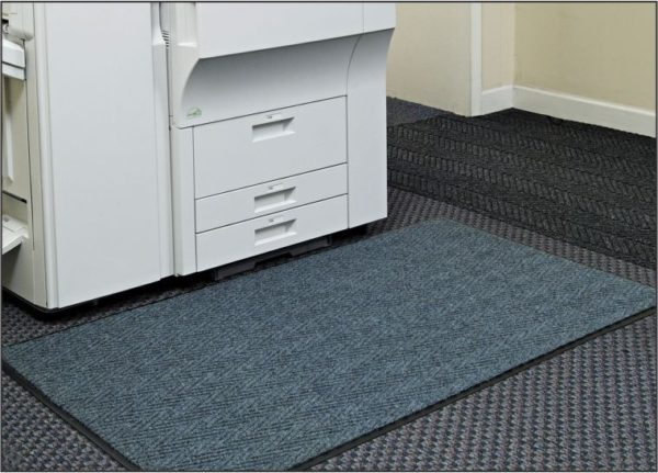 Chevron floormat used in front of a copy machine