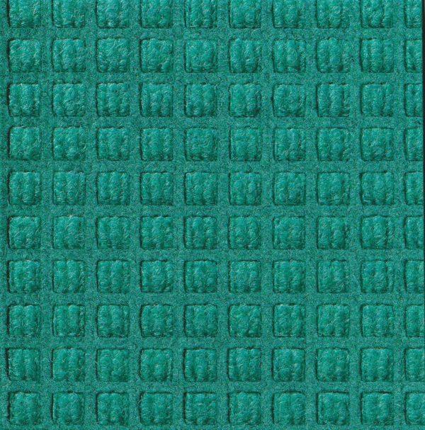 Close up view of Aquamarine Waterhog Classic walk off mat showing waffle surface pattern of the carpet mat