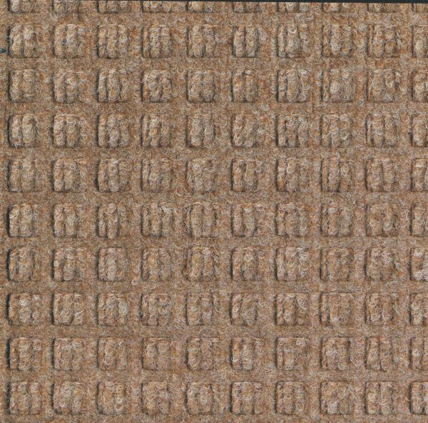 Close up view of Medium Brown Waterhog Classic entrance mat showing waffle surface pattern of the entry mat