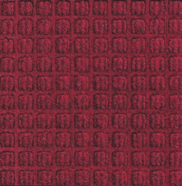 Close up view of Red/Black Waterhog Classic entrance mat showing waffle surface pattern of the door mat