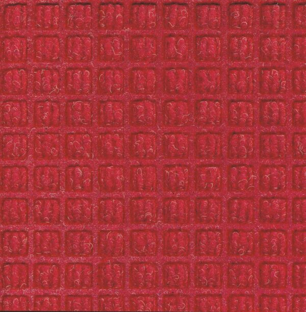 Close up view of Solid Red Waterhog Classic entrance mat showing waffle surface pattern of the door mat