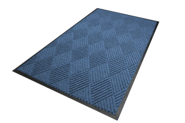 Aerial view of Waterhog Diamond Classic Standard Border Medium Blue Floor mat