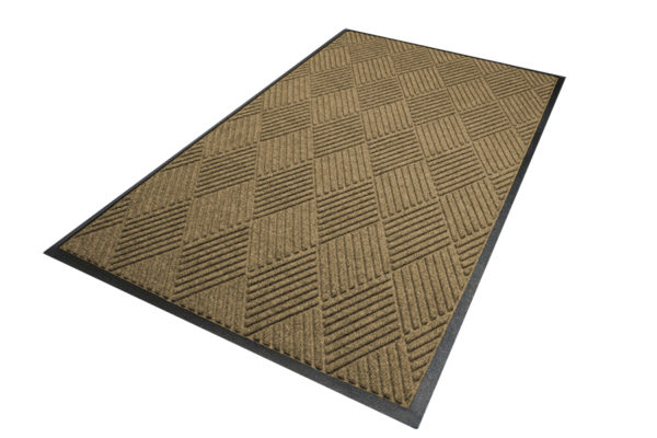 Aerial view of Waterhog Diamond Classic Standard Border Camel Floor mat
