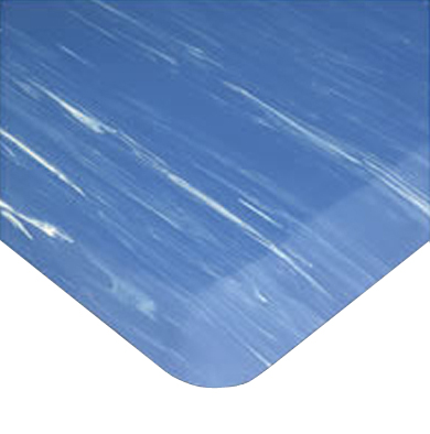 Corner detail of Tile Top Anti-Fatigue Mat in Marbleized Blue color showing beveled edges