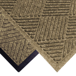 Corner view of Waterhog Classic Diamond floor mats with two floor mat edge options - Standard rubber and Fashion border edging