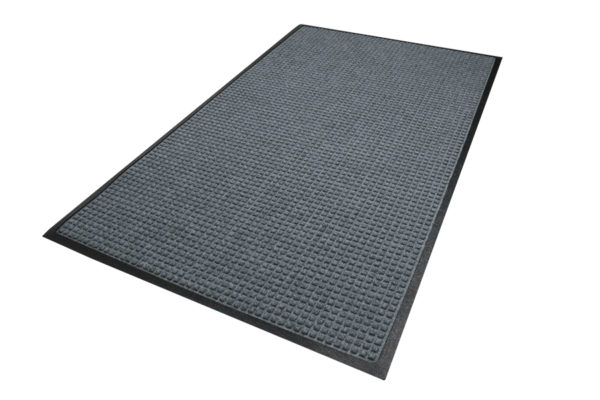 Aerial view of Waterhog Classic entry matting in a Bluestone color with Standard Rubber Edges