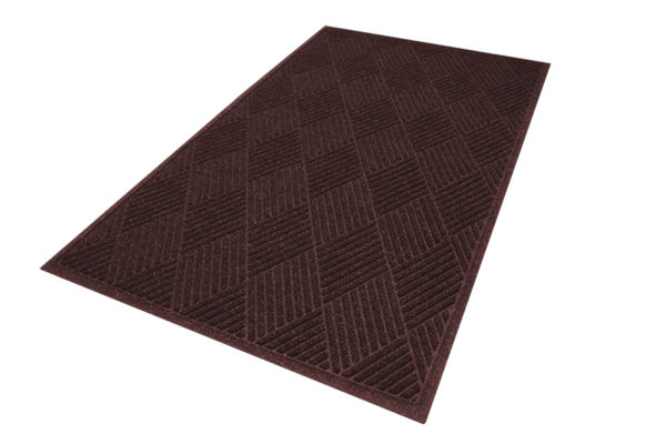 Aerial View of Waterhog Eco Premier Floor matting in a Maroon color with fashion border edges