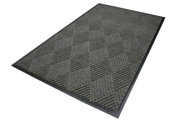 Aerial View of Waterhog Eco Premier Floor matting in a Gray Ash color with standard rubber edges