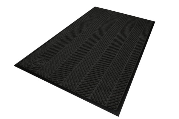 Close up view detailing surface pattern of a Waterhog Eco Elite entrance mat with standard edges in a Black smoke