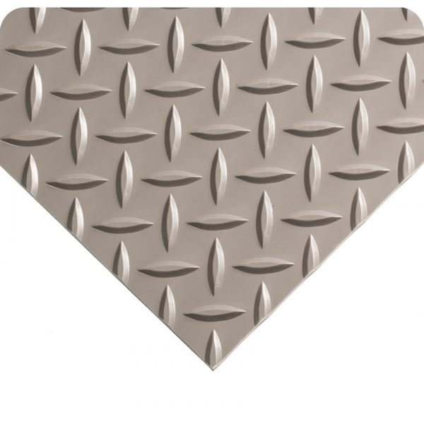 Corner view of Surface Texture for Gray Military Switchboard Nonconductive matting with Diamond Plate Surface