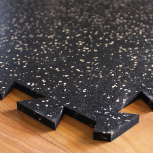 Close up view of Premier Tuff Interlocking Puzzle edges for gym flooring