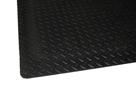 Close up view for Black Diamond Plate floor matting showing diamond surface texture