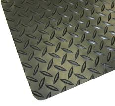 Corner detail and surface texture for Diamond Plate Floor matting - Gray
