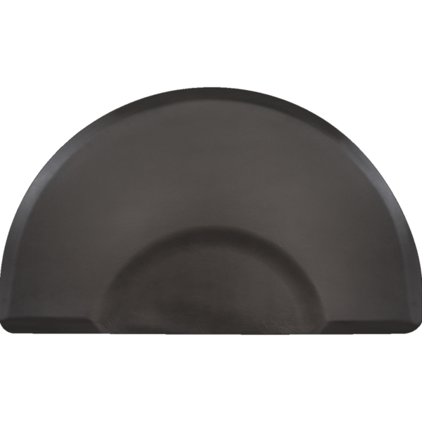Elite Salon floor mat - black half oval with chair depression
