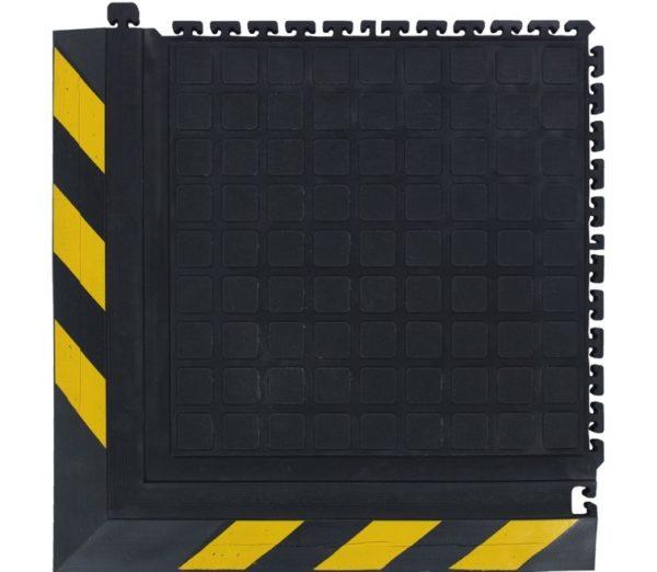Hog Heaven Modular III Industrial Anti Fatigue Mats- Corner with Yellow Border