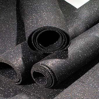 Heavy Duty Rolled Rubber Gym Flooring - black with gray Color Fleck