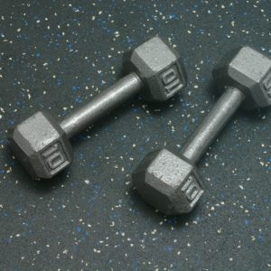 Dumbells resting on Heavy Duty Rolled Rubber Flooring for gyms - Blue Gray Color Fleck