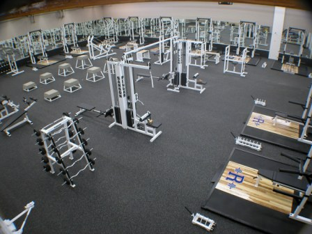 Commercial Gym with heavy duty rolled rubber flooring used under gym equipment