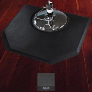 Elite Salon Mat for Stylists with chair on top showing beveled edges and angled corners for color carts