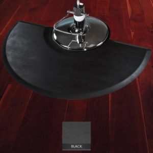 Tough Guy Salon Mat for Stylists with chair on top showing beveled edges half oval shape