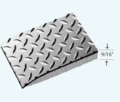 """Drawing of Sports Beauty Salon mat in a 9/16"""" Thickness showing Diamond pattern, beveled floor mat edge and foam base"""