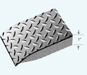"""Drawing of Sports Beauty Salon mat in a 1"""" Thickness showing Diamond pattern, beveled floor mat edge and foam base"""