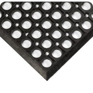 Drain Thru Holes and beveled edge detail for Worksafe Light Cutting Fluid Resistant (CFR) Industrial Floor Mats