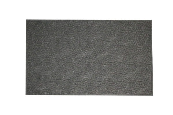 Aeriel view of Waterhog Legacy Eco Floor Mat in a Grey Ash with fashion border edges