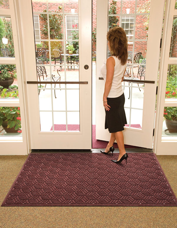 Waterhog Legacy Eco floor mat used inside hotel garden entrance in front of double doors