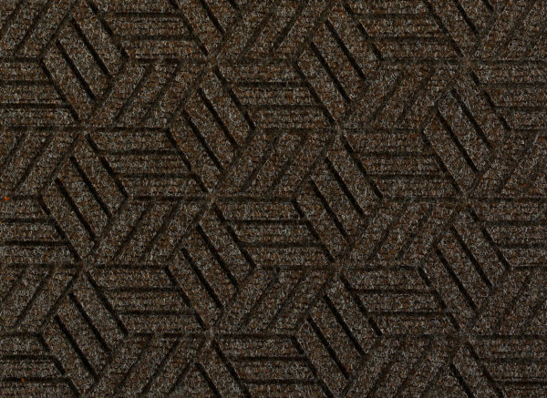 Close up view of a Chestnut Brown Waterhog Legacy Eco Floor Mat detailing the high tech floor surface pattern of the walk off mat
