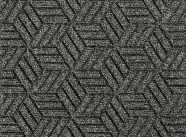 Close up view of a Grey Ash Waterhog Legacy Eco floor mat detailing the high tech floor surface pattern of the walk off mat