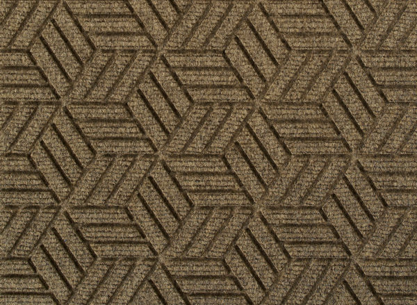 Close up view of a Khaki Waterhog Legacy Eco floor mat detailing the high tech floor surface pattern of the walk off mat