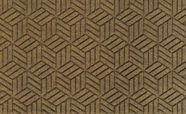 Close up view of a Camel Waterhog Legacy Classic entrance mat detailing the high tech floor surface pattern of the entry mat