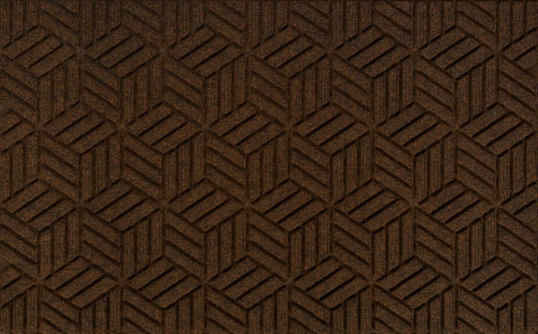 Close up view of a Dark Brown Waterhog Legacy Classic entrance mat detailing the high tech floor surface pattern of the entry mat