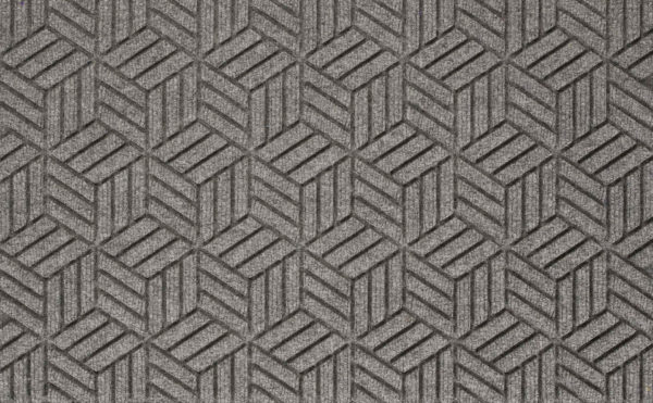 Close up view of a Medium Gray Waterhog Legacy Classic entrance matting detailing the high tech floor surface pattern of the front door mat