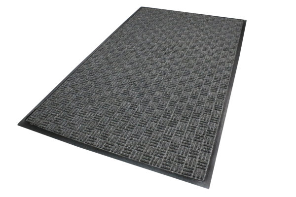 Close up view of Waterhog Masterpiece Select Thunderstorm Entry matting detailing rubber edges and geometric surface pattern in a Pewter color