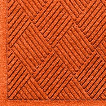 Close up view of Orange Waterhog Classic Diamond walk off mat with Fashion Border