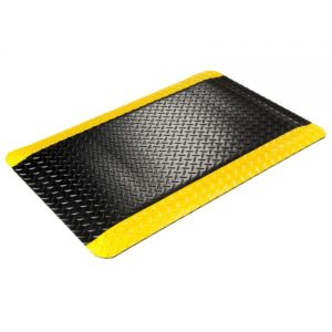 Diamond Plate Anti Fatigue Mat with Yellow Safety Border