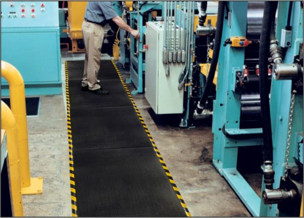 Happy Feet Industrial Floor Mat Runner with Yellow Borders - Linkable