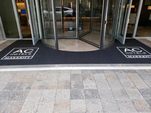 Custom Cut Logo mat cut in around Revolving Door - Atlanta, GA