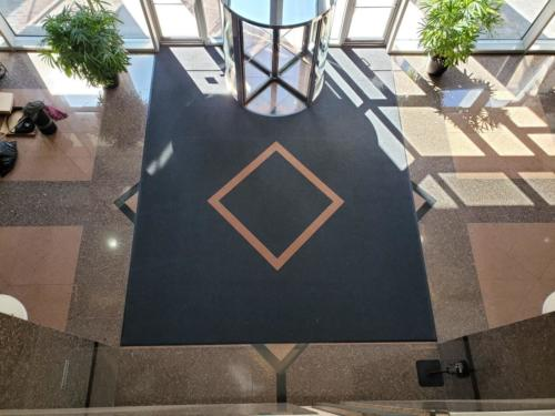 Aerial View Piazza Inlay Logo Mat - Custom Installed floor mat in Greensboro, NC